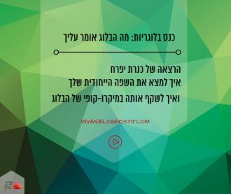 הרצאה של כנרת יפרח בכנס בלוגריות: מה הבלוג אומר עליך